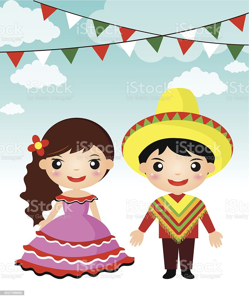 Mexican couple traditional costume cartoon royalty-free stock vector art