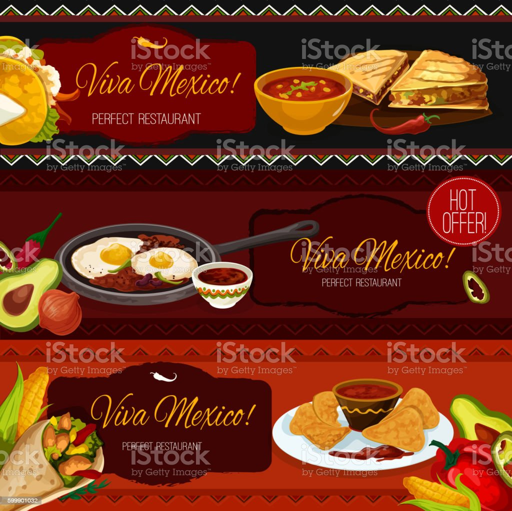 Mexican cuisine restaurant banners with spicy food vector art illustration