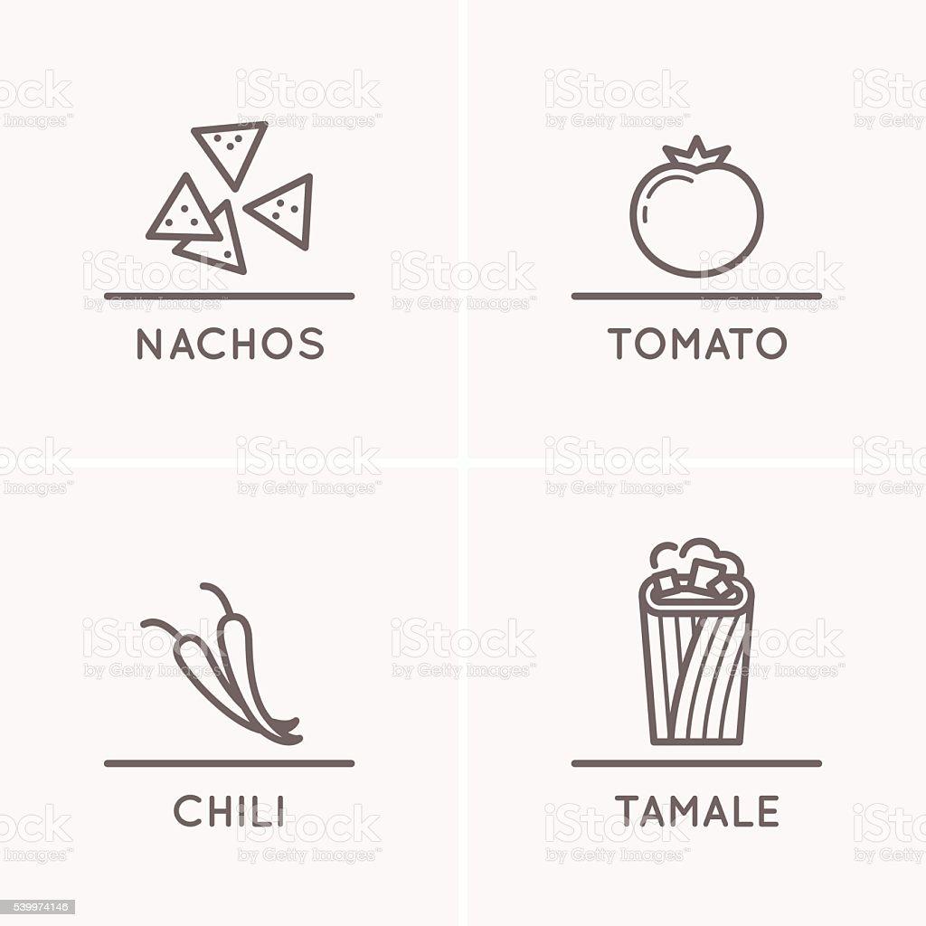 Mexican culture set. vector art illustration