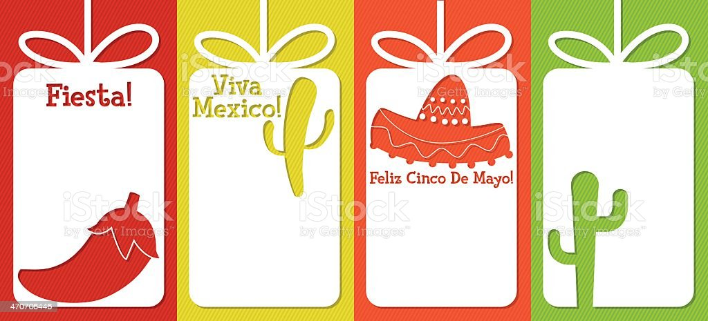 Mexican cut out tag collection in vector format. vector art illustration