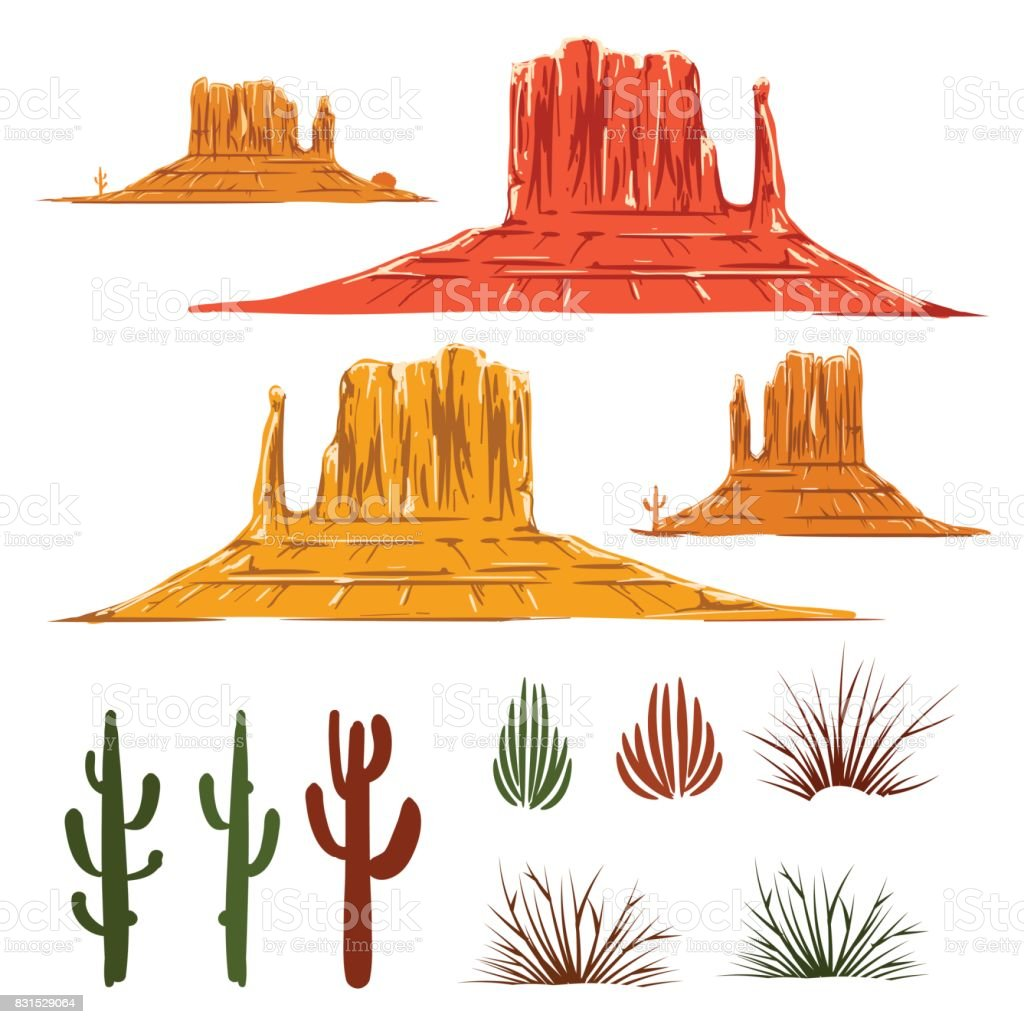 Mexican desert landscape cartoon elements vector art illustration