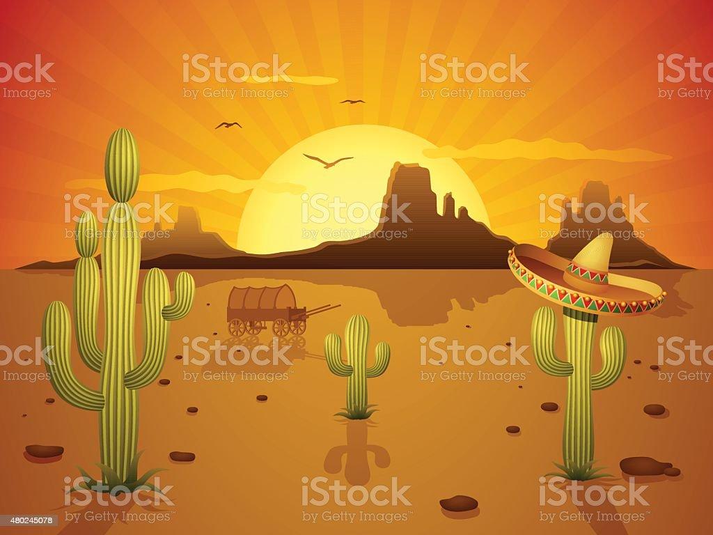 Mexican Desert vector art illustration