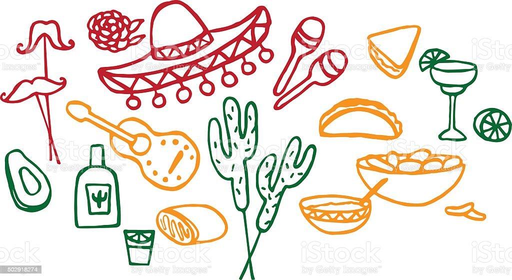 Mexican elements, cinco de mayo elements, mexico fiesta vector art illustration