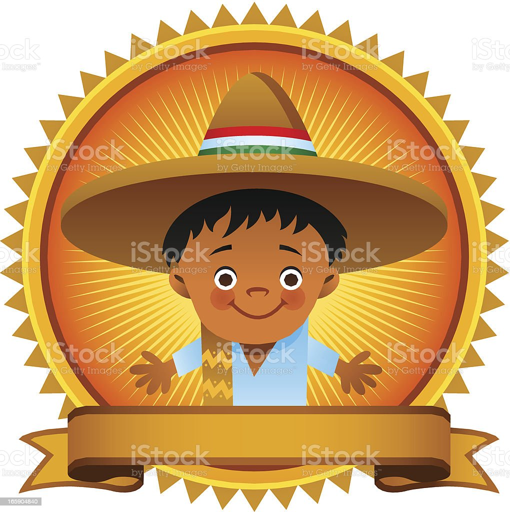 Mexican Emblem with Kid royalty-free stock vector art