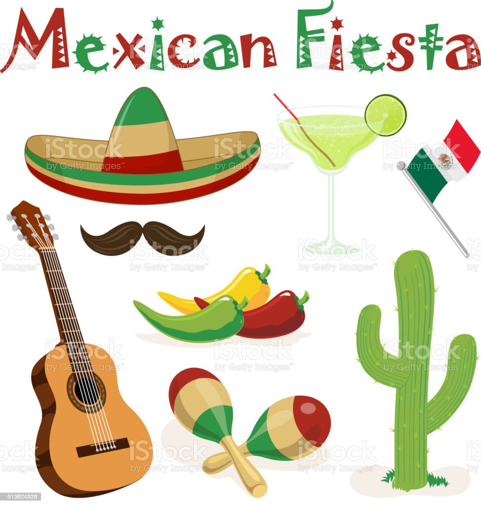 Mexican Fiesta Elements vector art illustration