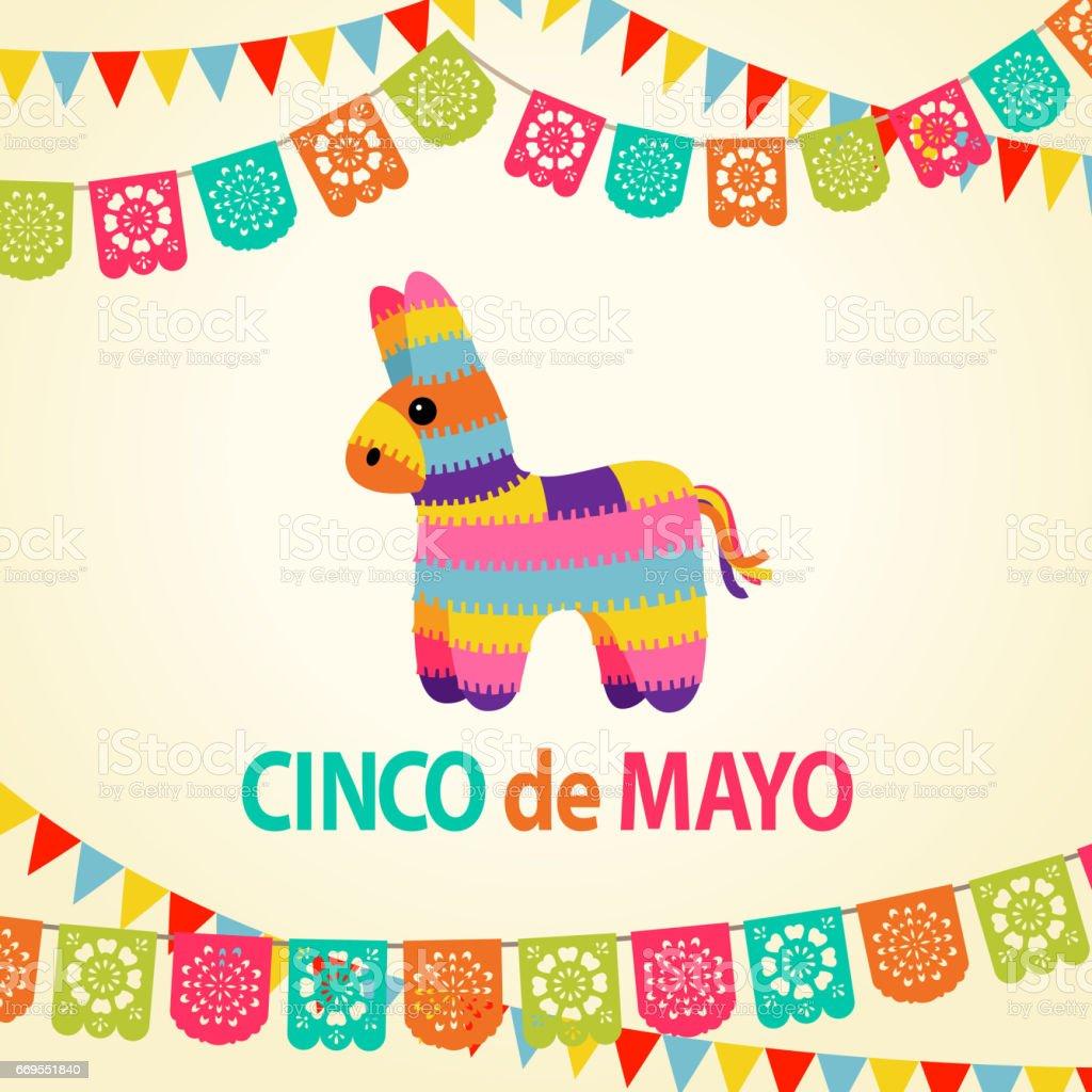 Mexican Fiesta Pinata Party Invitation vector art illustration