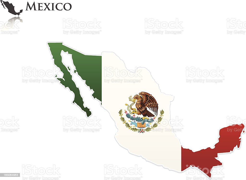 Mexican Flag - Map royalty-free stock vector art
