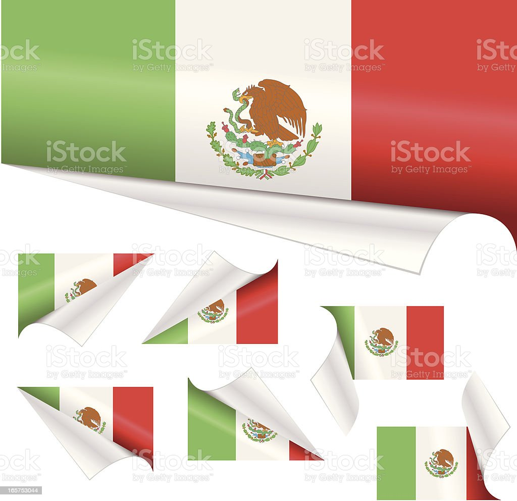 Mexican Flags behind Curled Paper royalty-free stock vector art