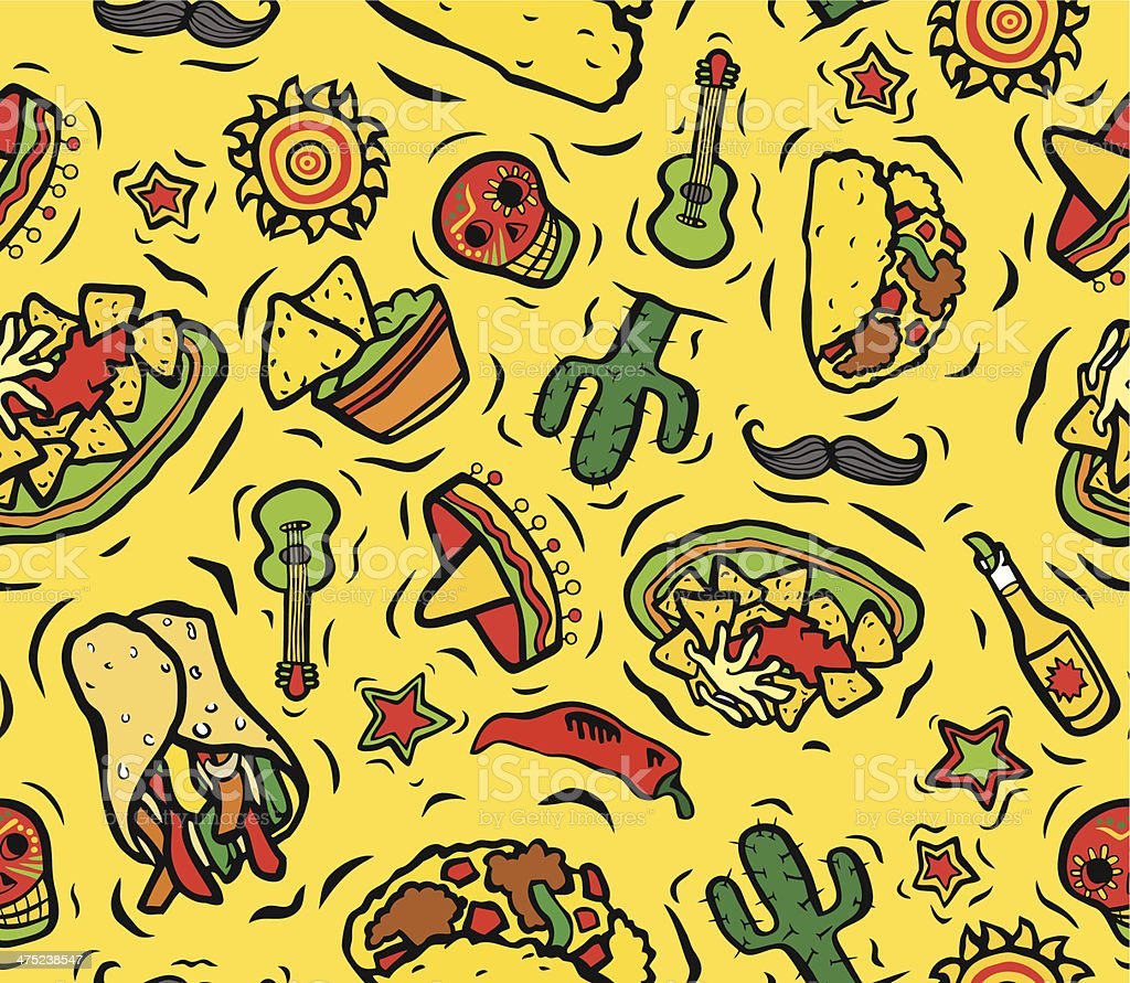 Mexican Food and Things Seamless Background vector art illustration