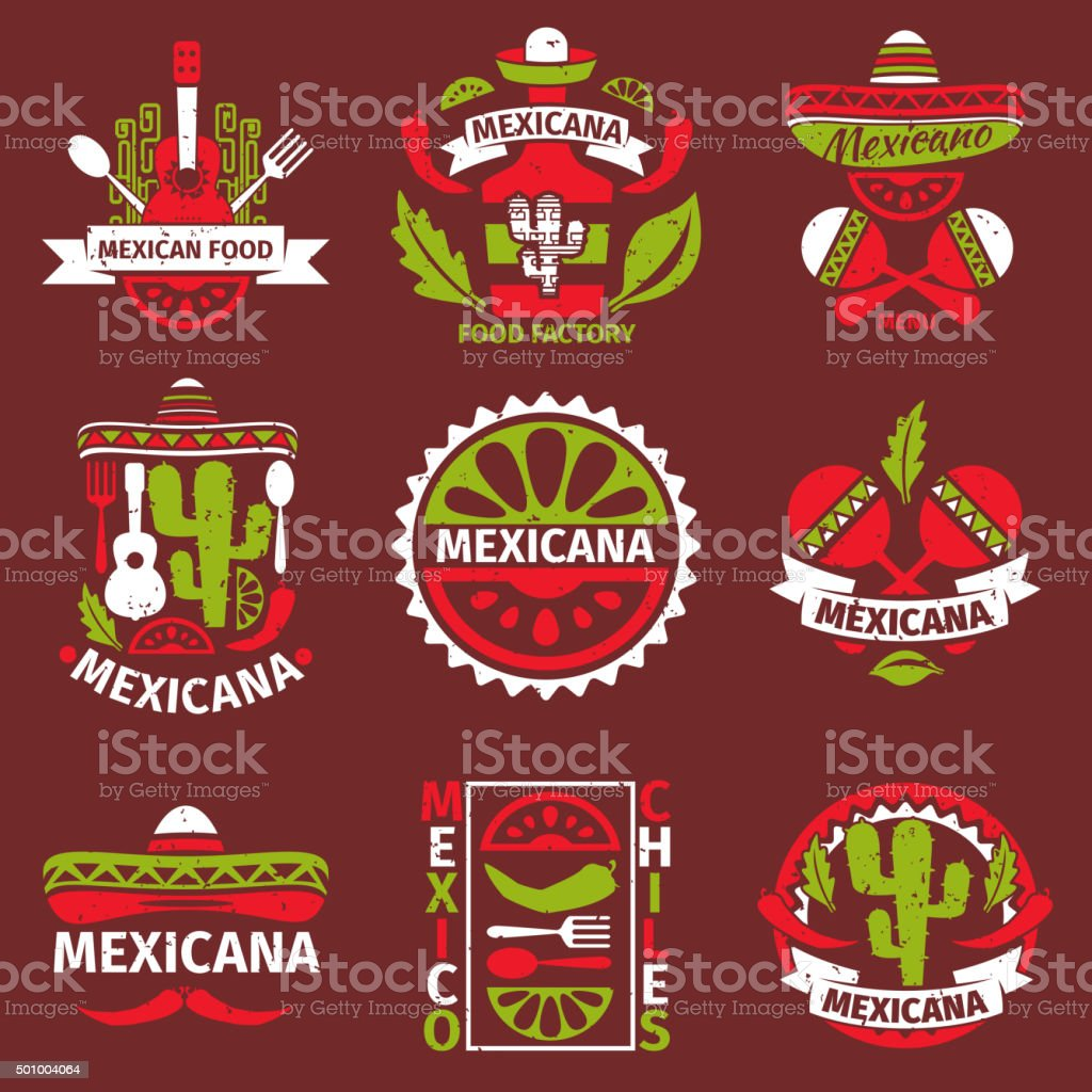 Mexican food grunge rubber vector stamps vector art illustration