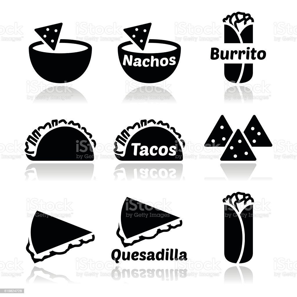 Mexican food icons - tacos, nachos, burrito, quesadilla vector art illustration