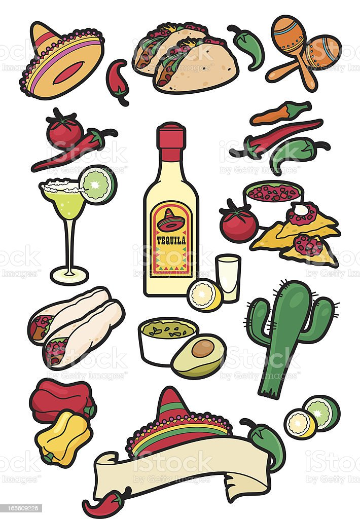 Mexican food icons vector art illustration