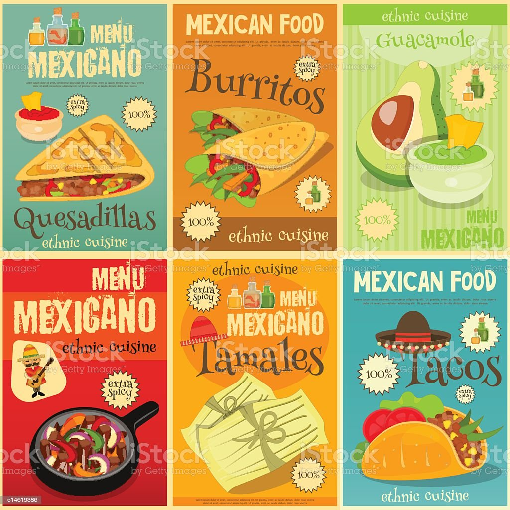 Mexican Food Mini Posters Set vector art illustration