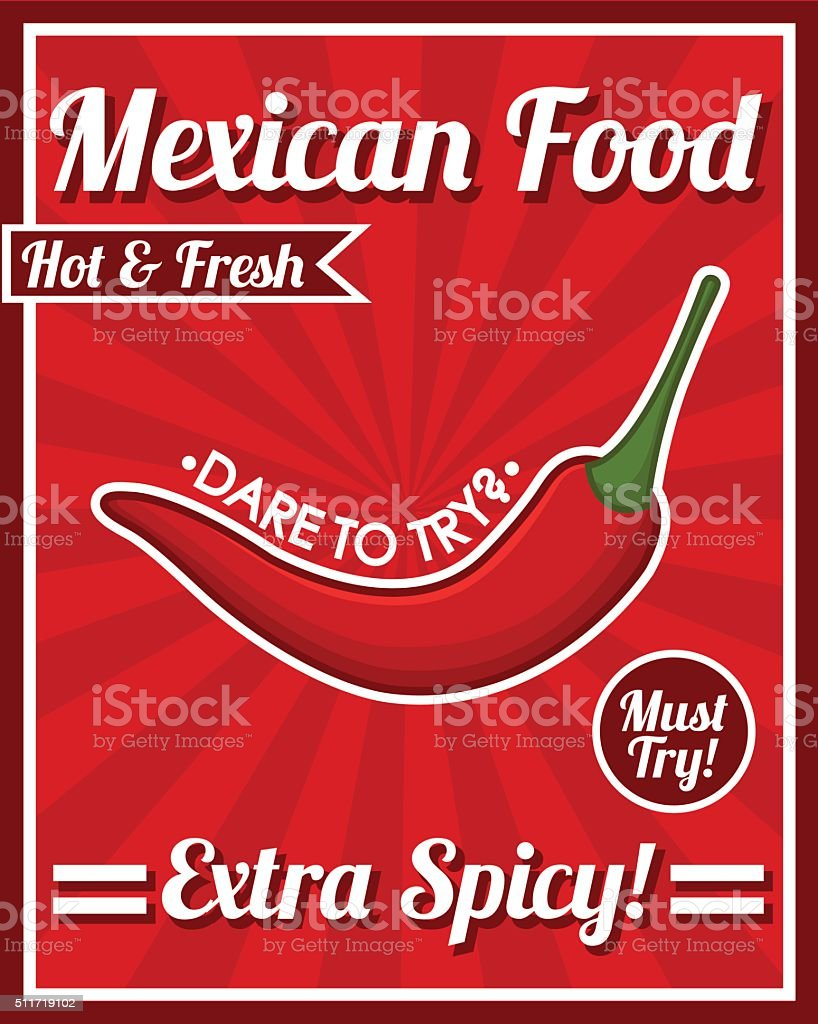 Mexican food poster vector art illustration