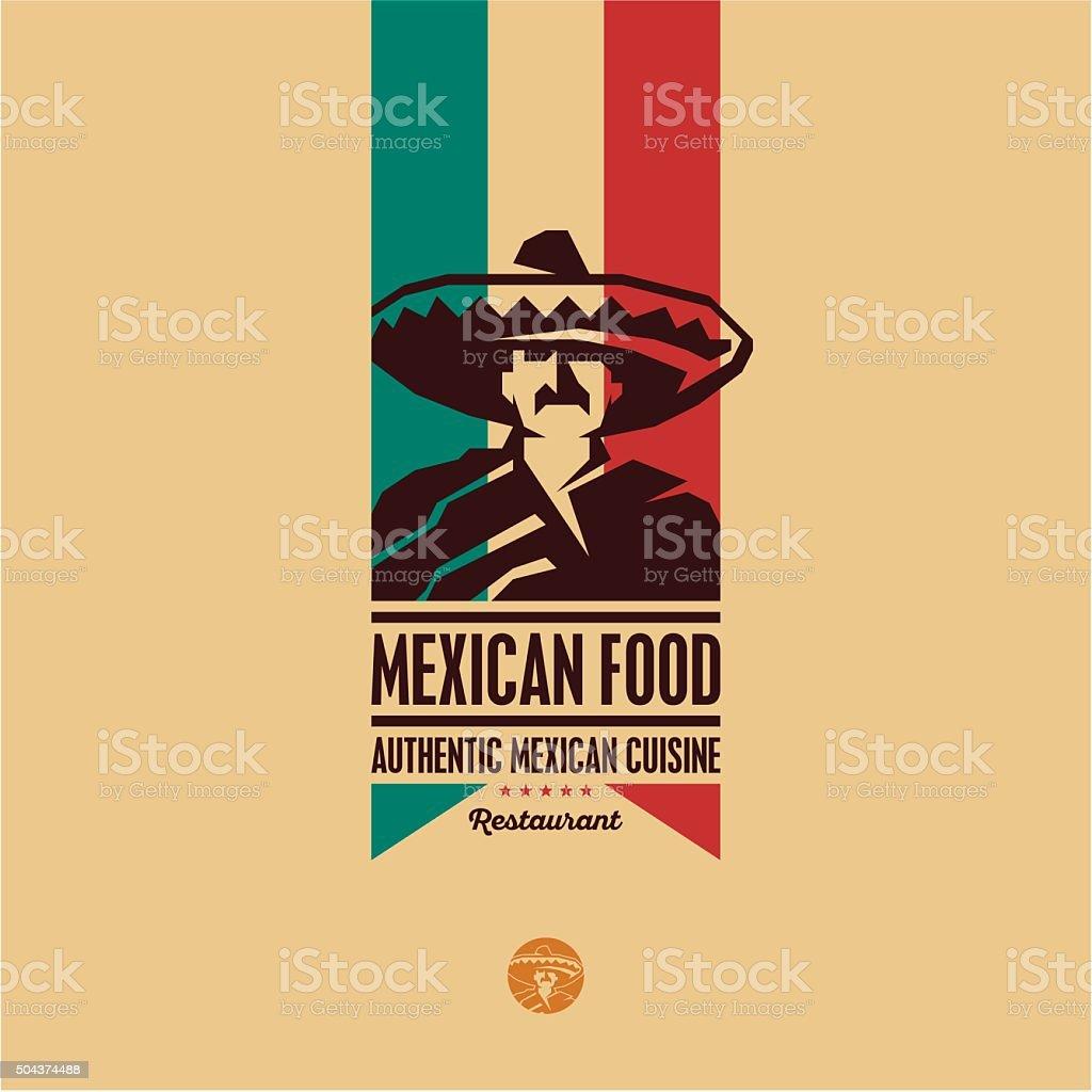 Mexican food restaurant logo vector art illustration