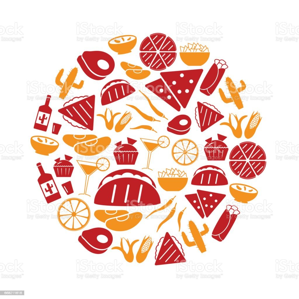 mexican food theme set of simple icons in circle eps10 vector art illustration