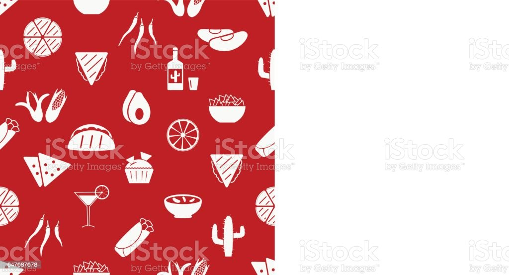 mexican food theme set of simple icons red seamless pattern eps10 vector art illustration