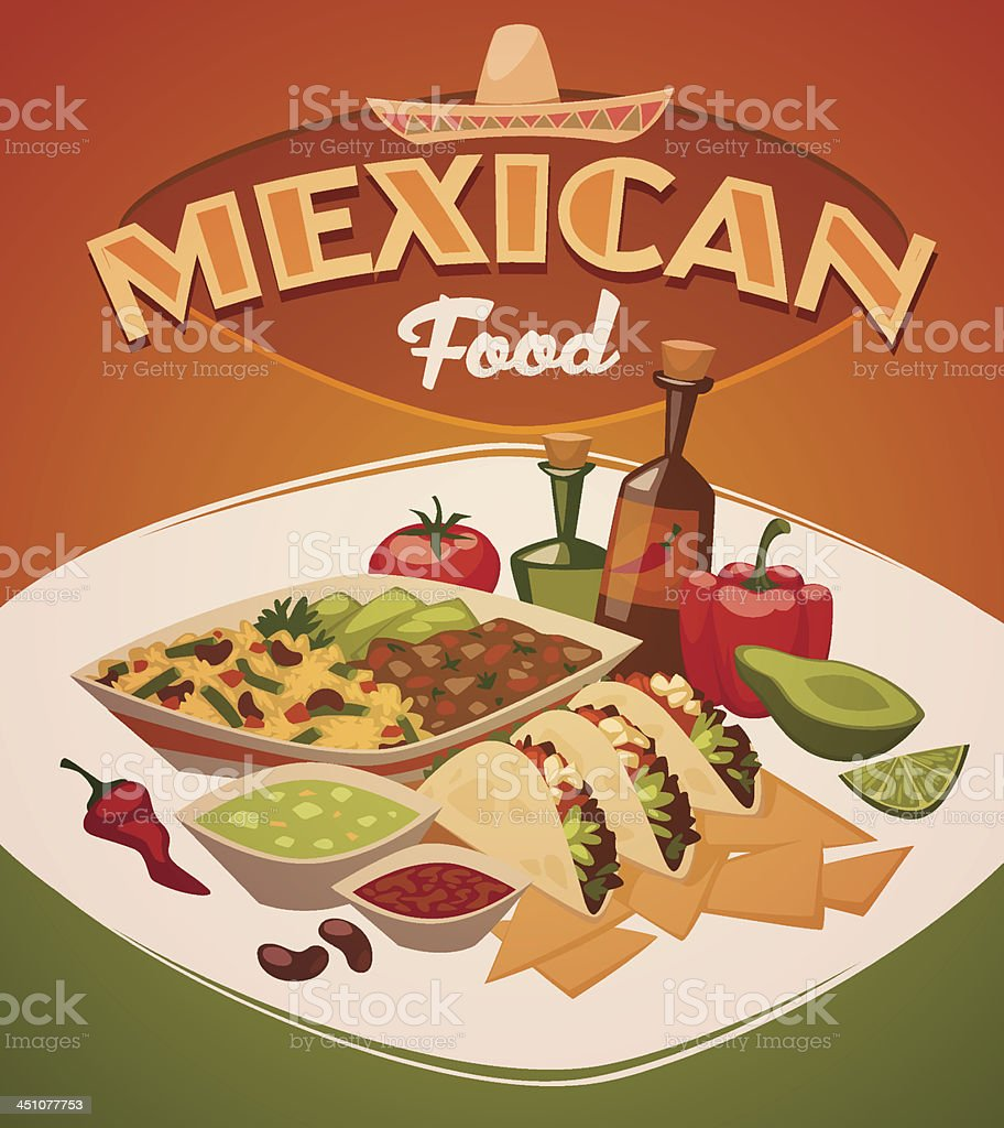 Mexican food. Vector background vector art illustration