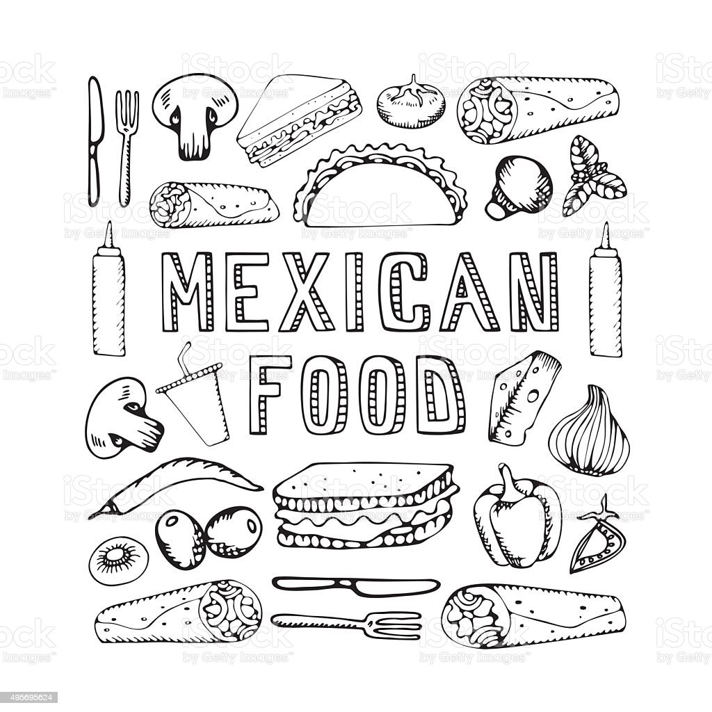 Mexican food. vector art illustration