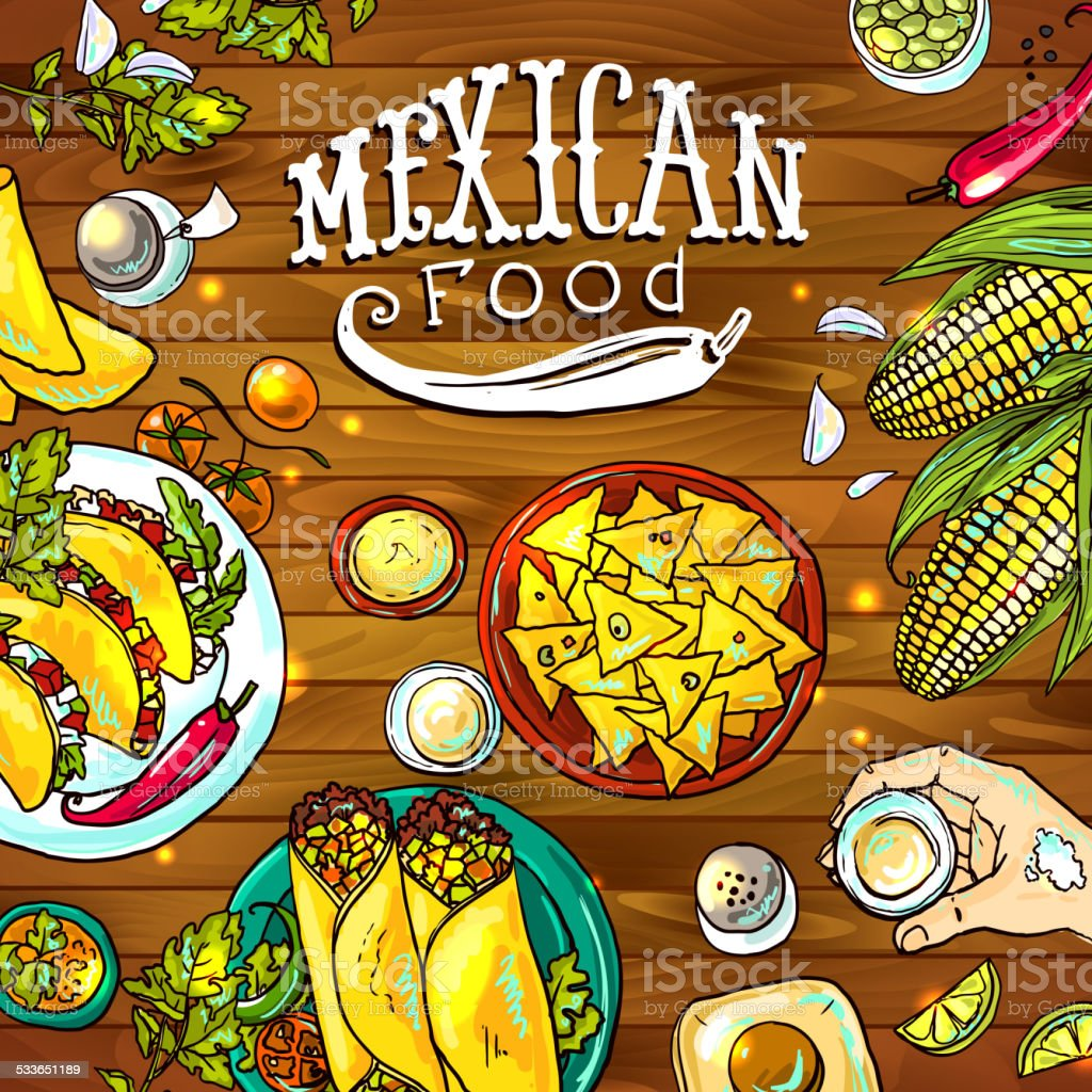 mexican food vector art illustration