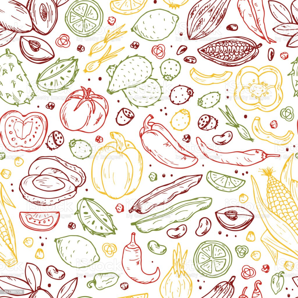 Mexican Food Vector Seamless pattern. Hand drawn doodle Fruits, Vegetables vector art illustration
