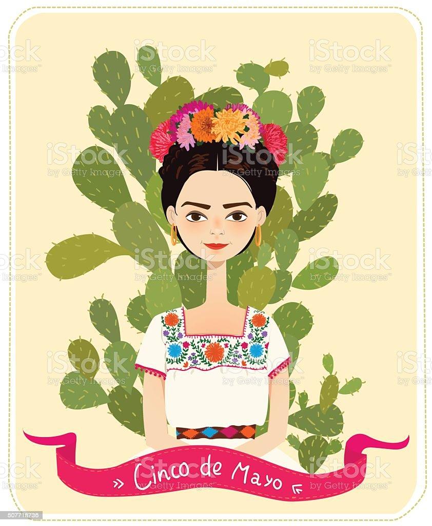 Mexican girl - Illustration vector art illustration