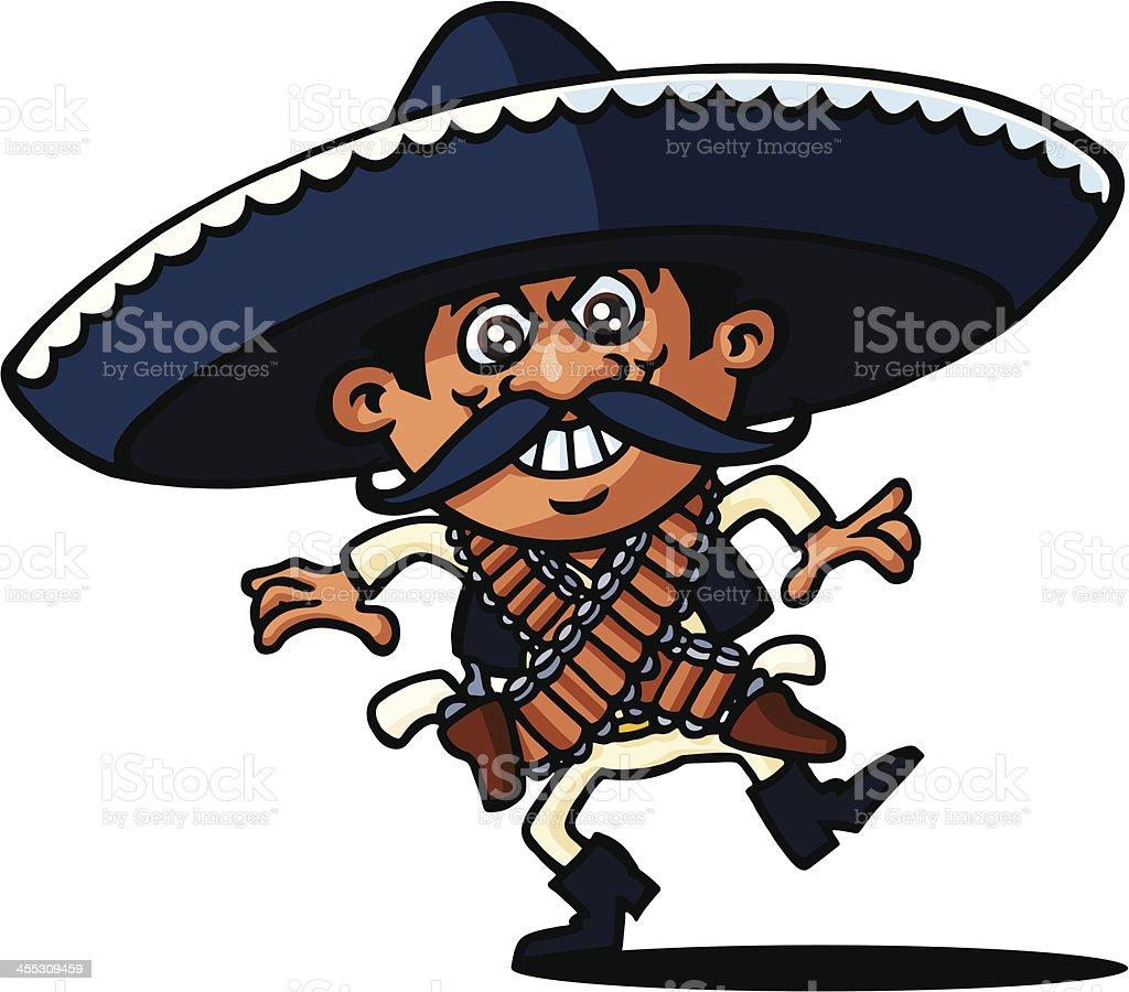 Mexican Gunslinger vector art illustration