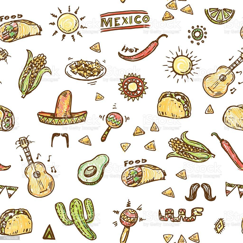 Mexican hand drawn pattern vector art illustration