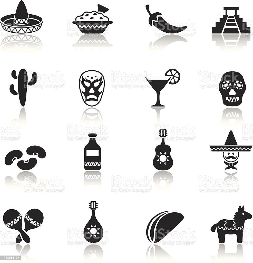 Mexican Icon Set vector art illustration