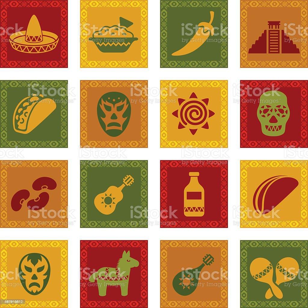 Mexican Icon Set vector art illustration