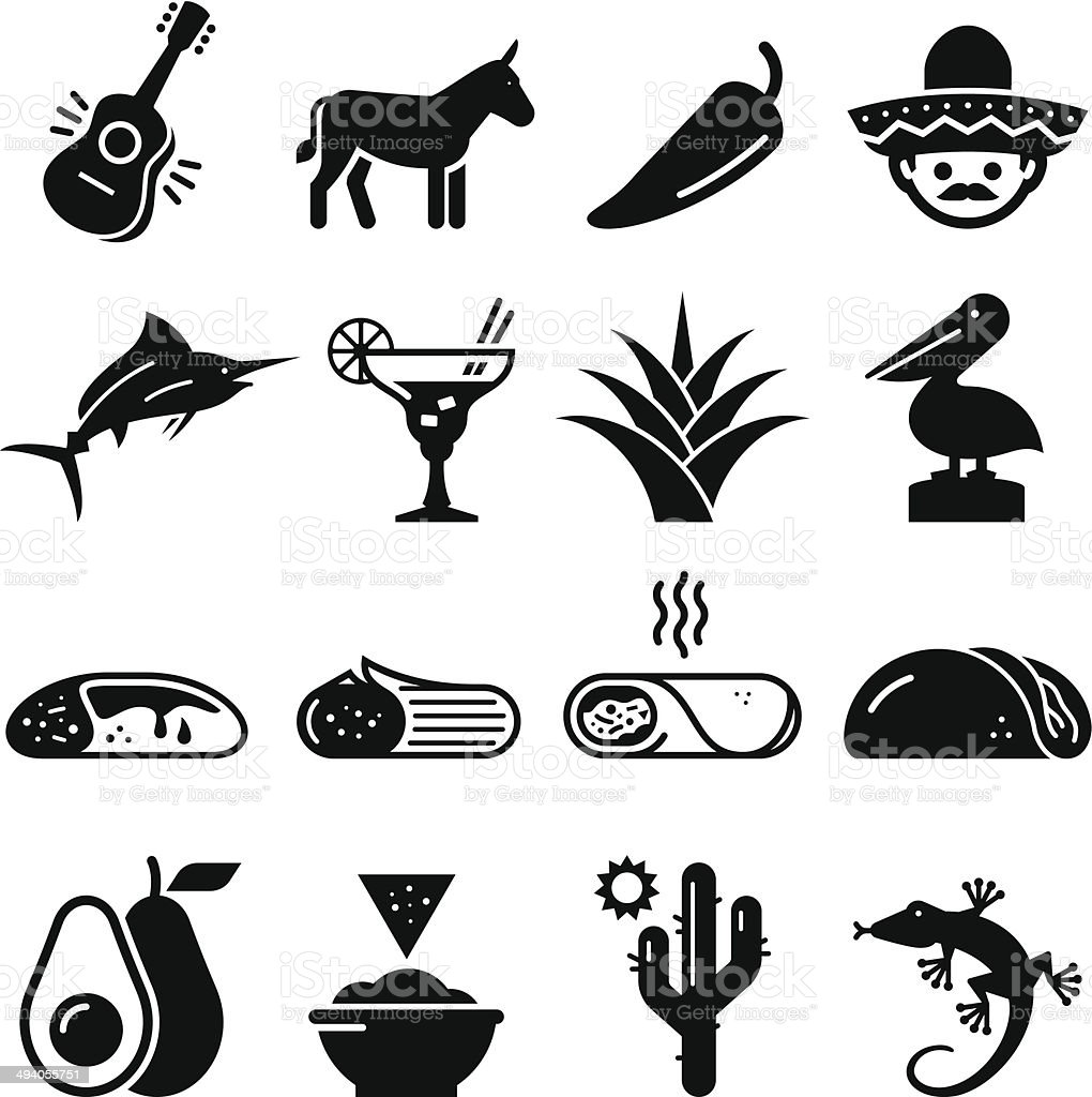 Mexican Icons - Black Series vector art illustration