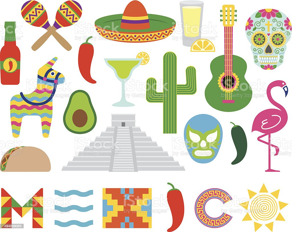 Mexican icons vector art illustration