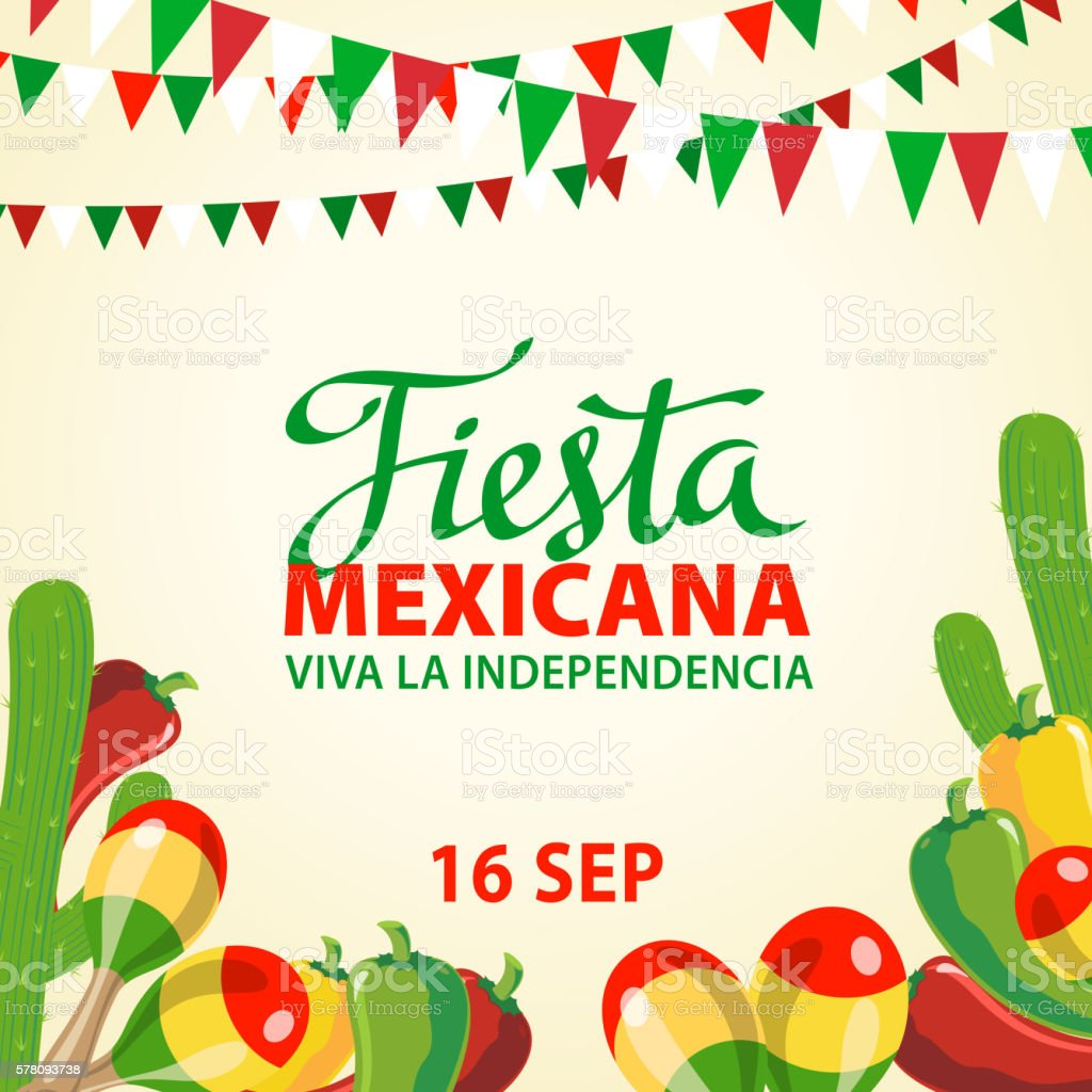 Mexican Independence Day Invitation vector art illustration