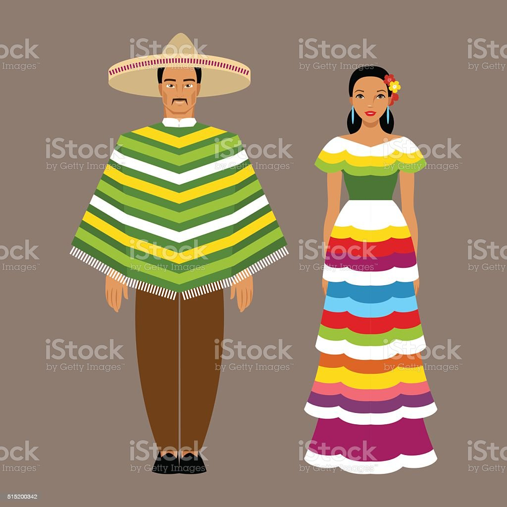 Mexican man and woman in traditional clothes vector art illustration