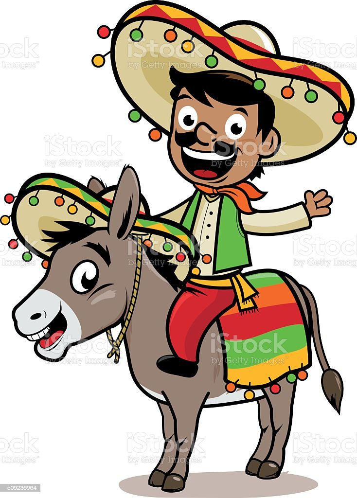 Mexican man riding a donkey vector art illustration