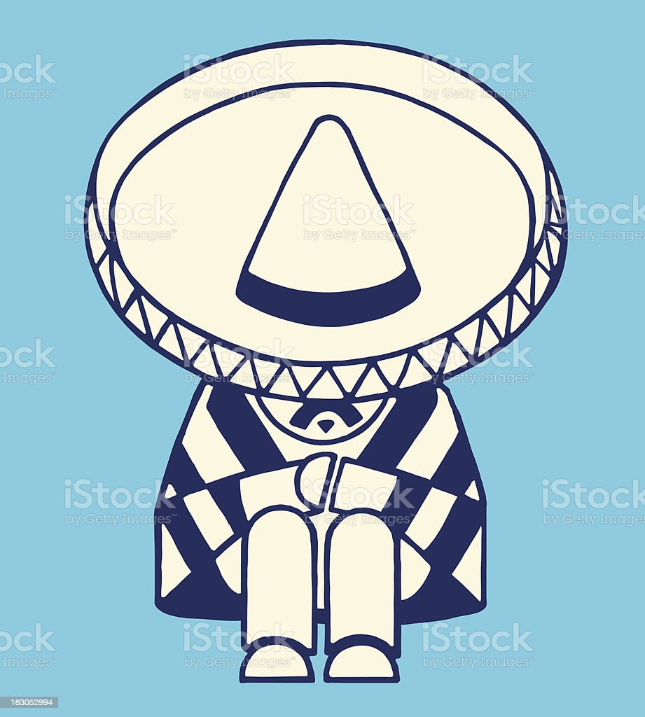 Mexican Man Taking a Nap vector art illustration