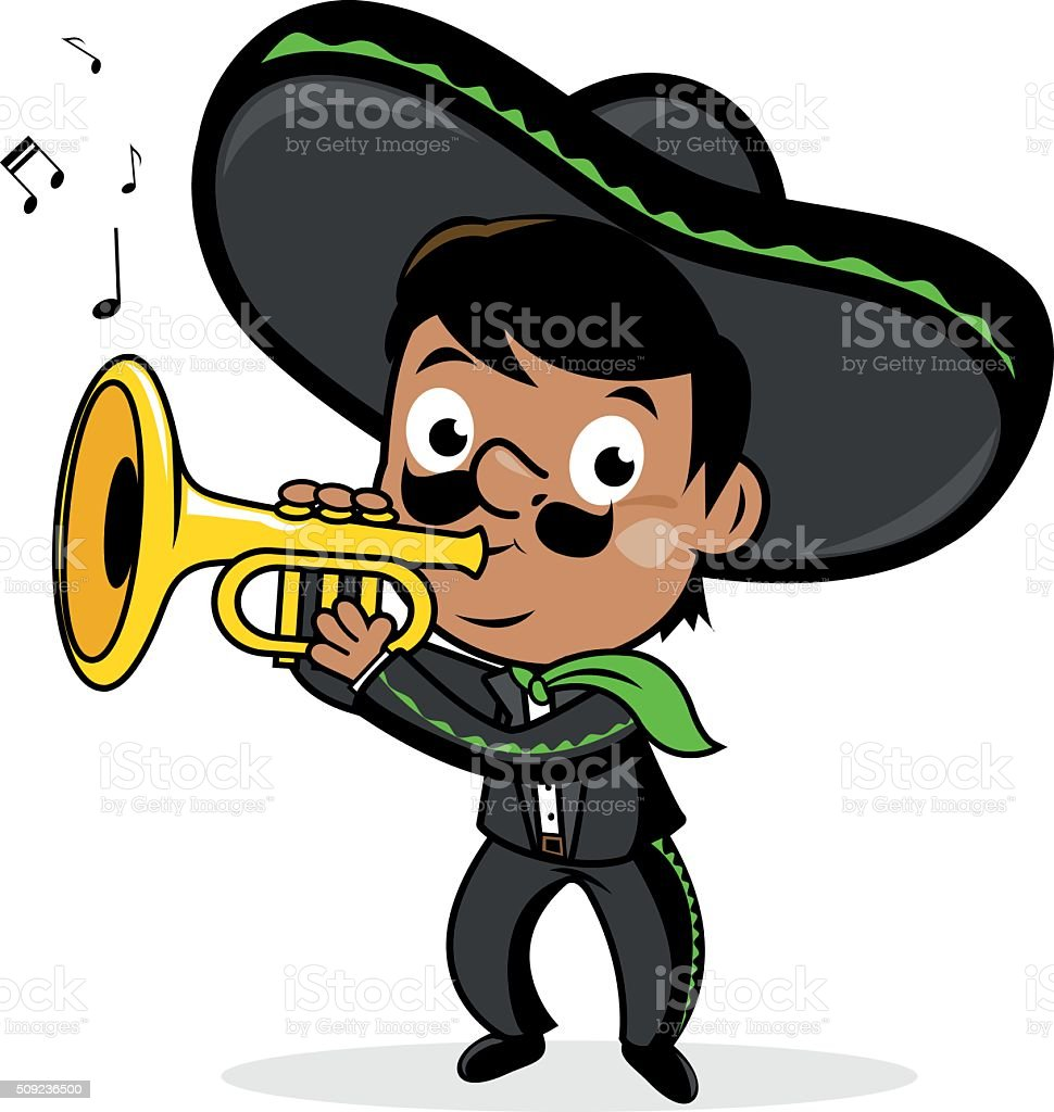Mexican mariachi man playing the trumpet. vector art illustration