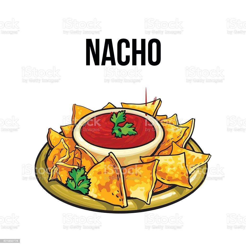 Mexican nachos, corn tortilla with salsa sauce vector art illustration