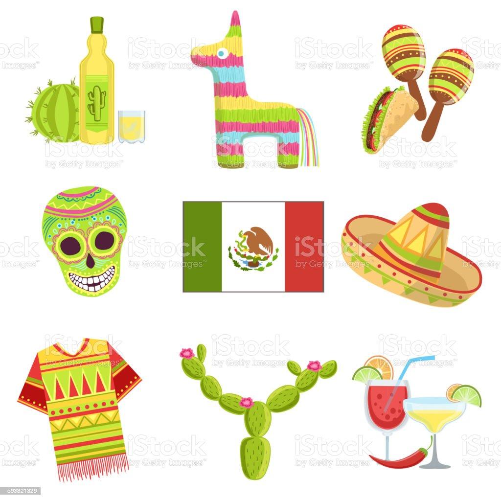 Mexican National Symbols Set vector art illustration
