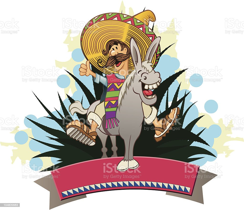 mexican on the donkey vector art illustration