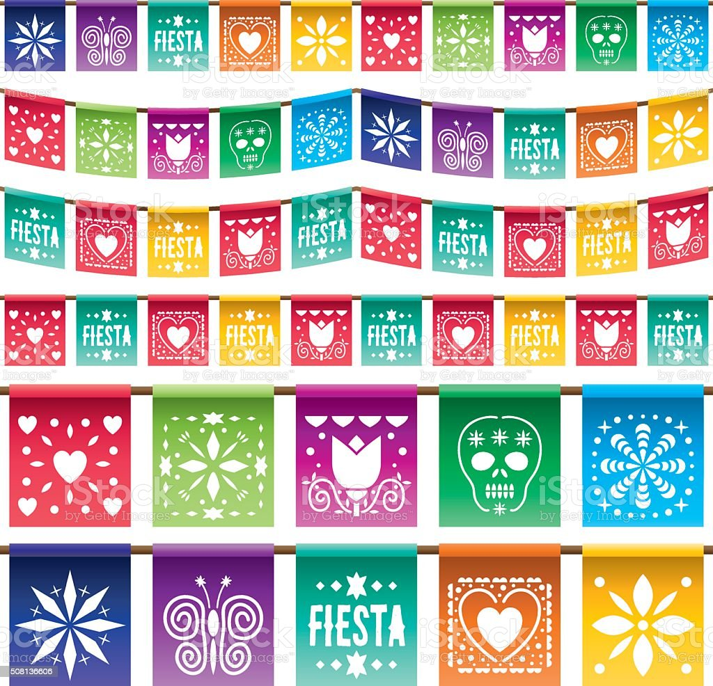 mexican paper bunting vector art illustration