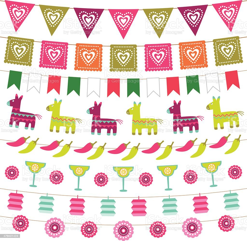 Mexican party bunting flags set vector art illustration