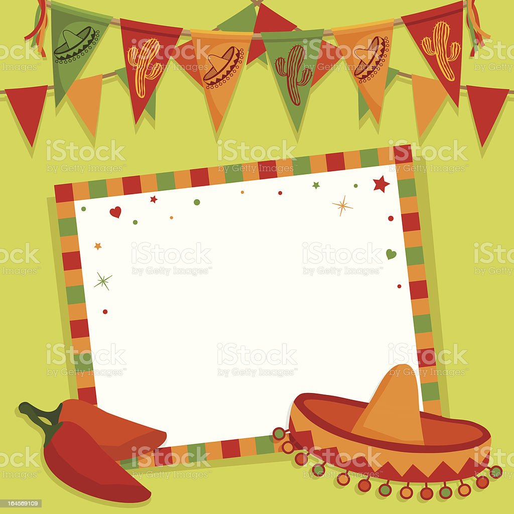 mexican party card vector art illustration