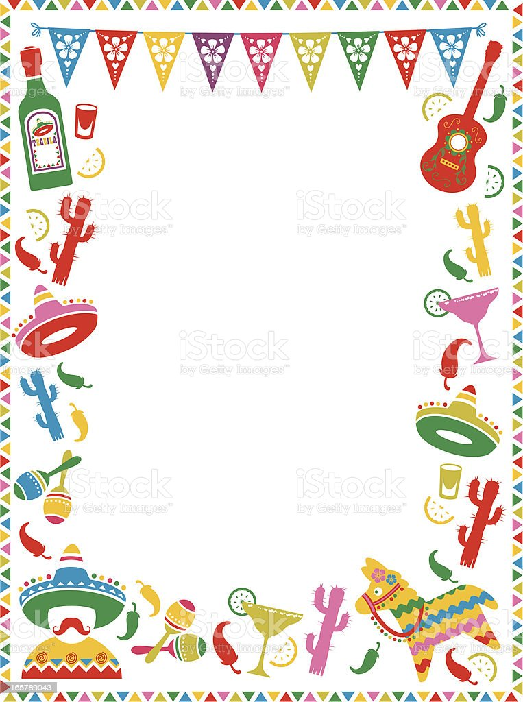 Mexican Party Frame vector art illustration