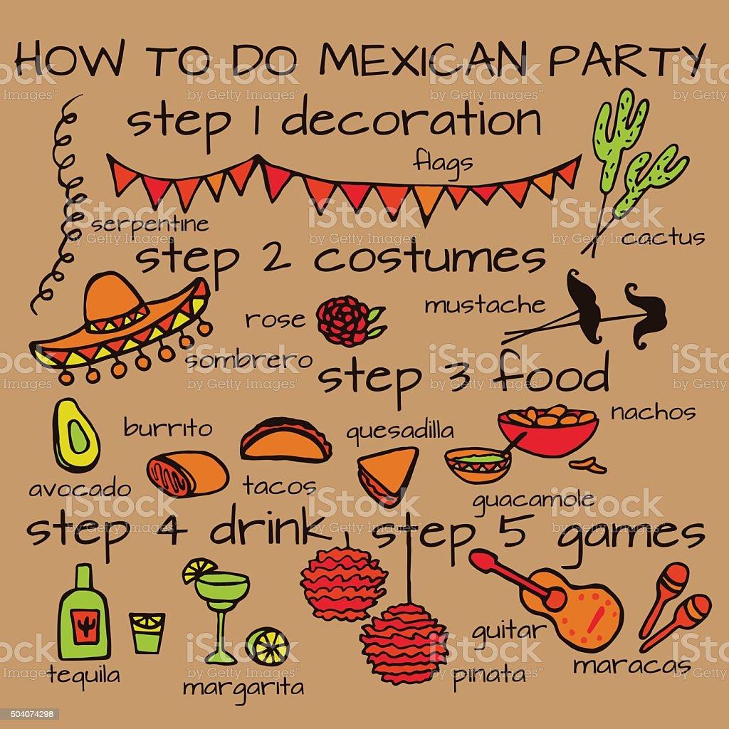 Mexican party ideas, cinco de mayo elements vector art illustration