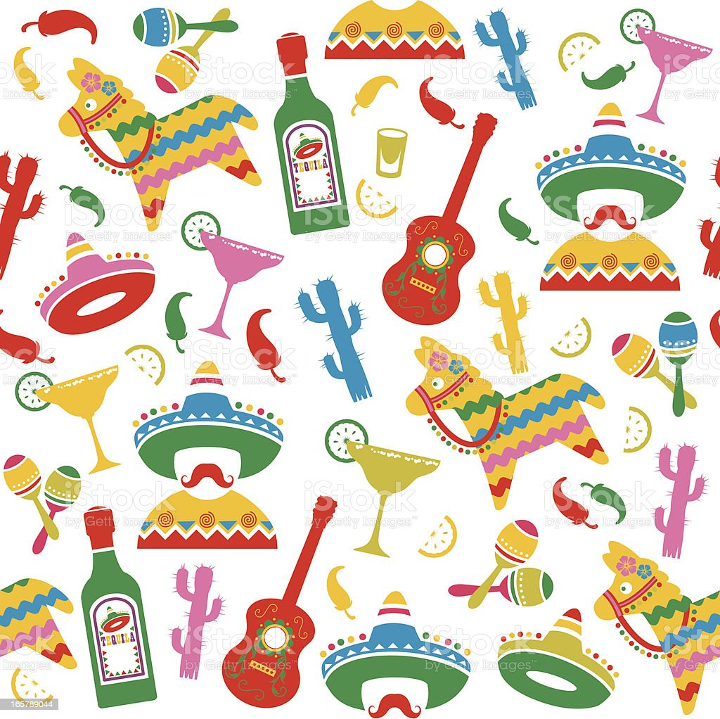 Mexican Party Seamless Pattern vector art illustration