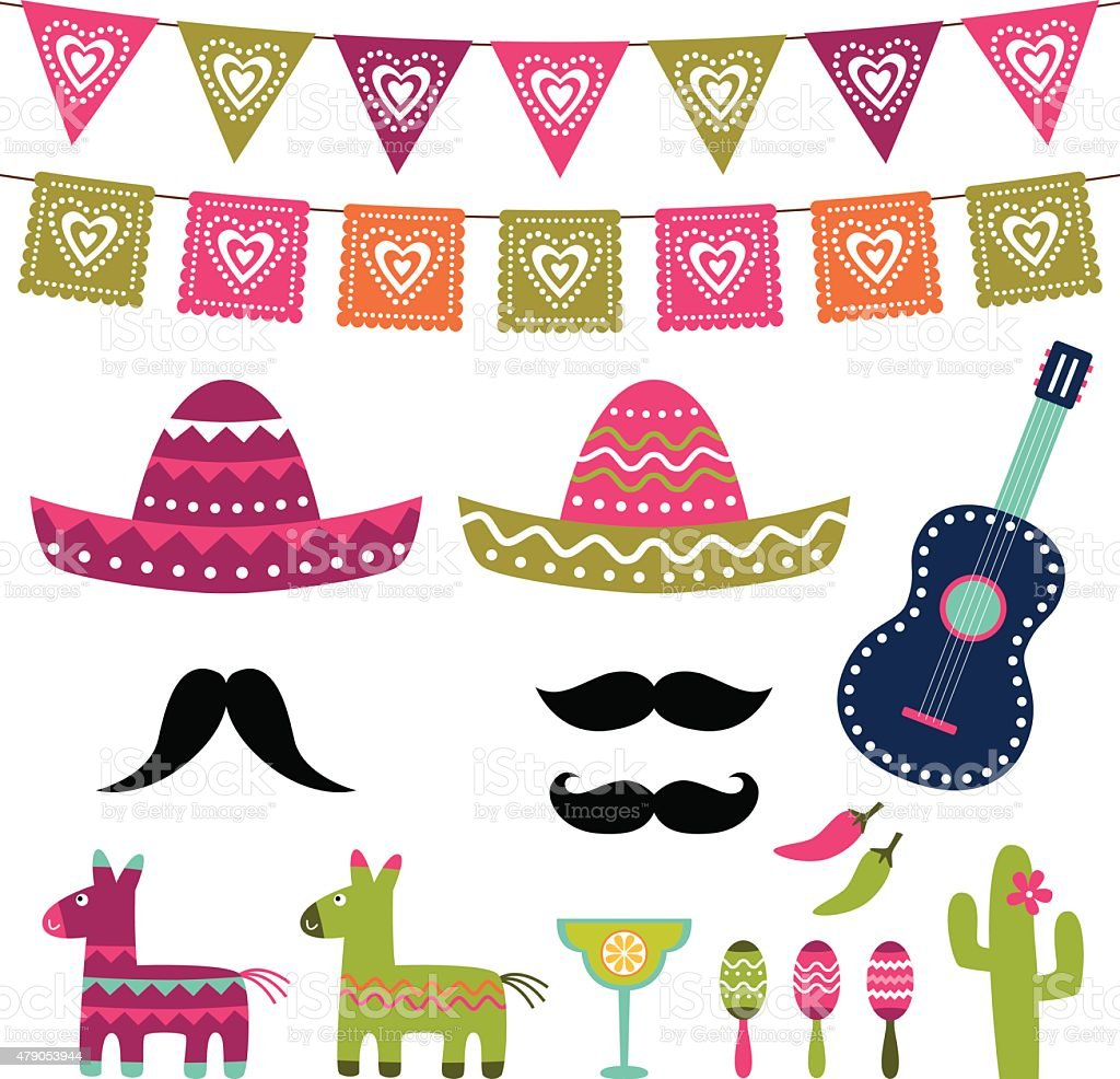 Mexican party vector decoration and photo booth props vector art illustration
