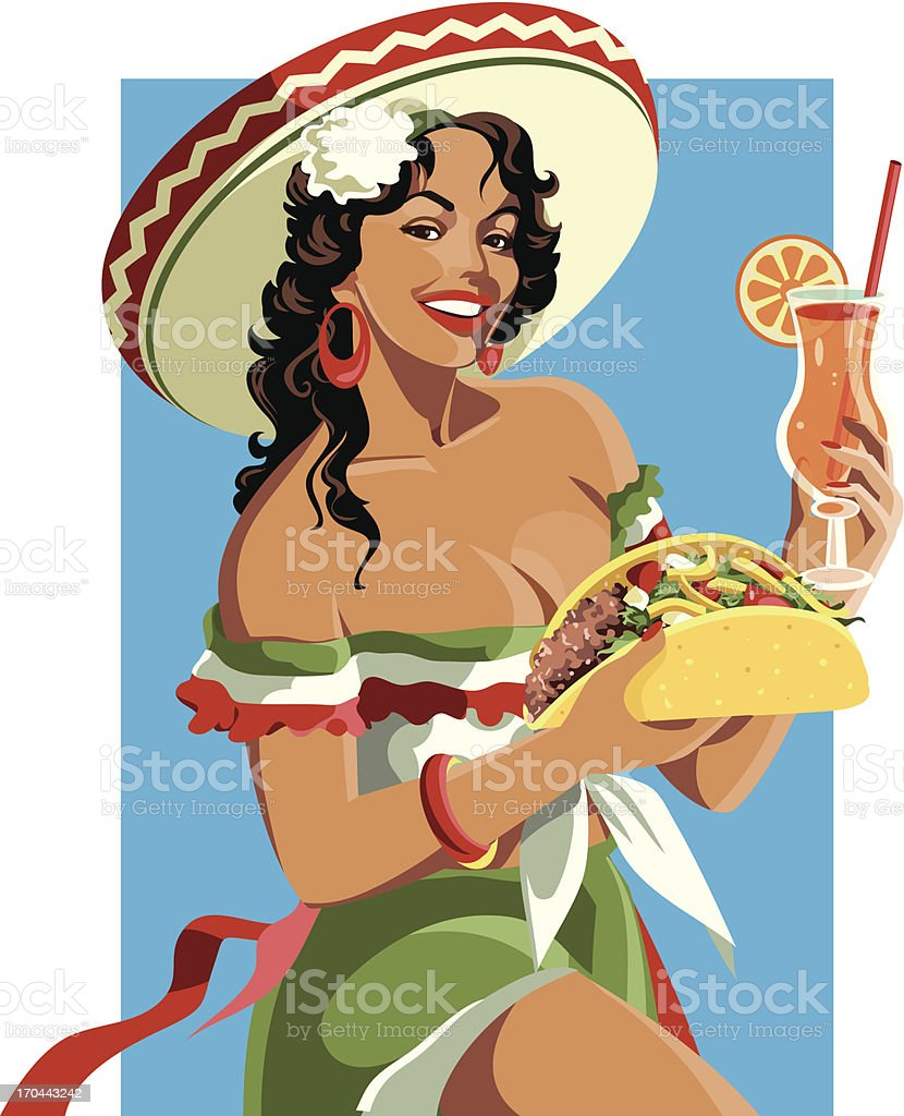 Mexican Pinup vector art illustration