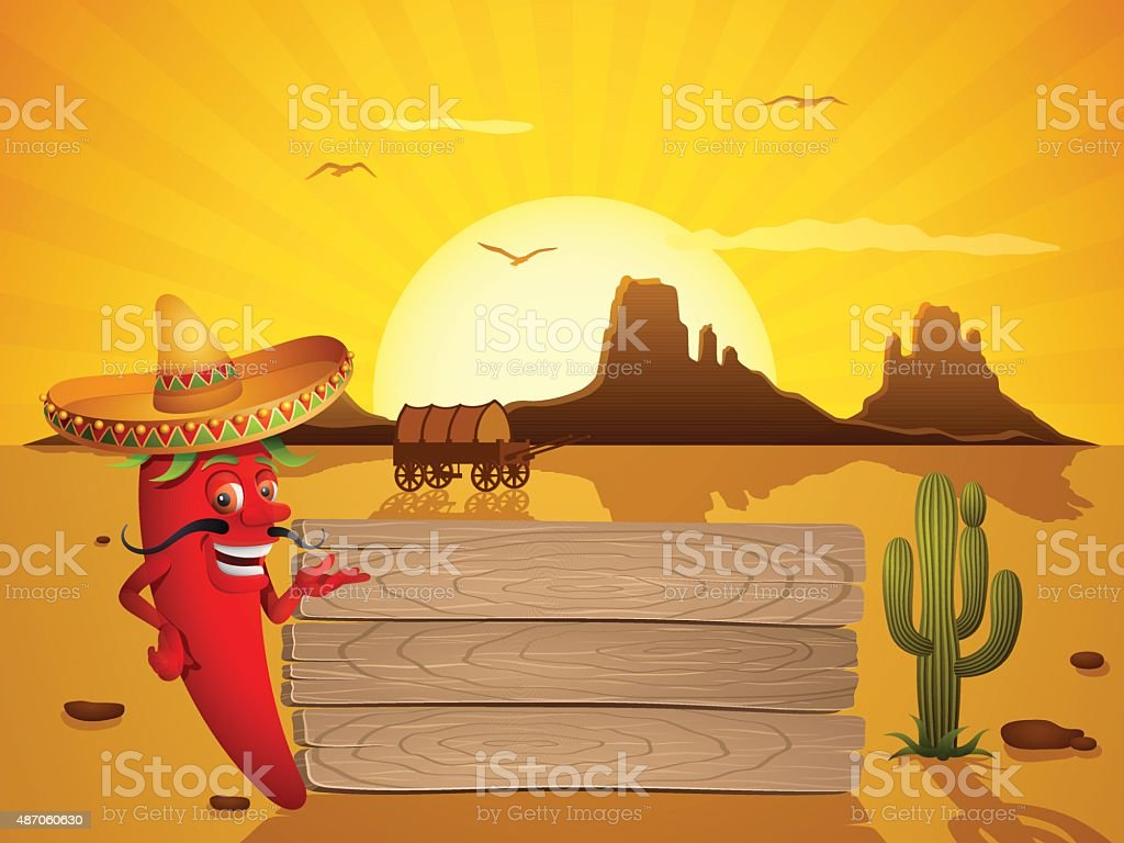 Mexican Red Chili Pepper vector art illustration