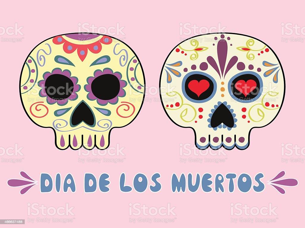 Mexican sculls vector art illustration
